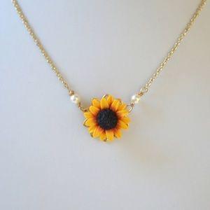Jewelry - Handmade rose gold sunflower necklace